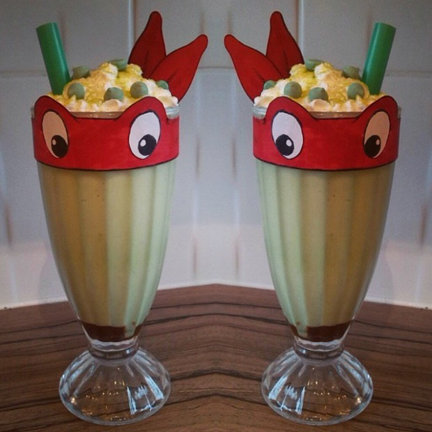 Green Teenage Mutant Ninja Turtle milkshake for a children's birthday party