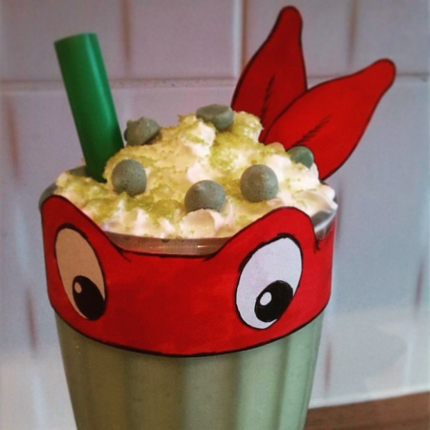 Teenage Mutant Ninja Turtle milkshake for a children's birthday party