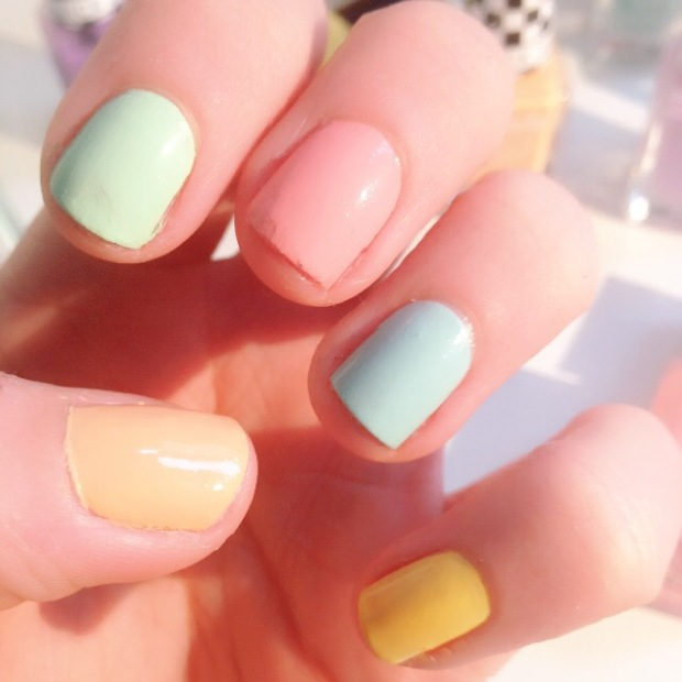 A basic manicure in pretty pastel Spring shades with Barry M Nail polish