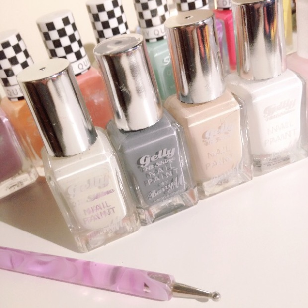 Barry M Gelly Hi Shine nail polish and nail varnish in grey, white, cotton, beige, peach, pink, mint green, lilac and pink