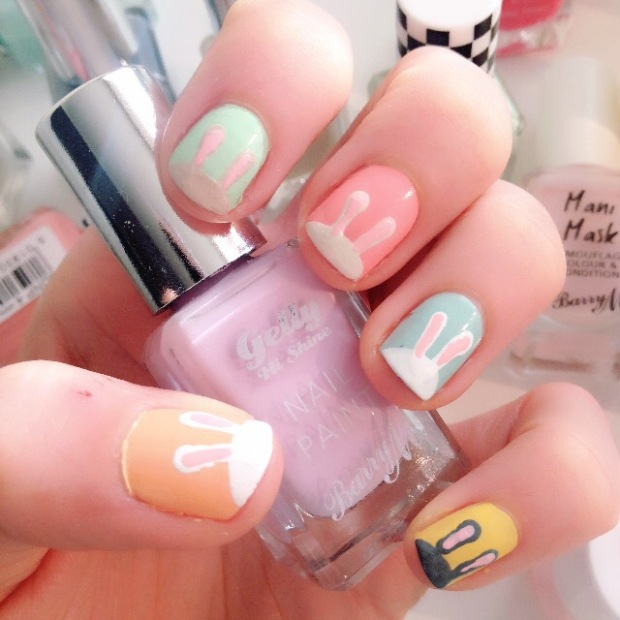 Nail art with an Easter Bunny themed nail art design in pastel colours with Barry M Nail polish