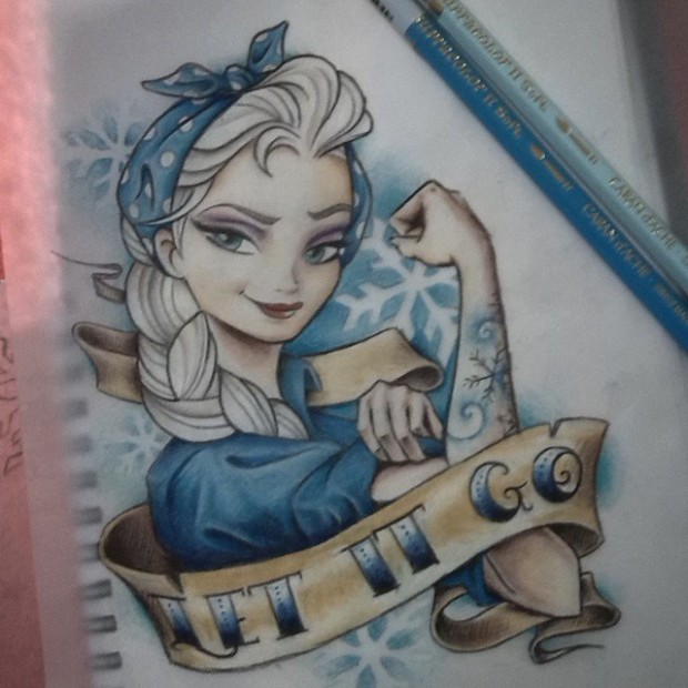 Elsa from Frozen with tattoos
