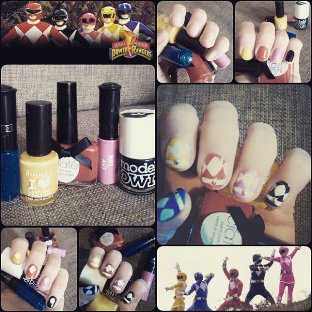Power Rangers nail art
