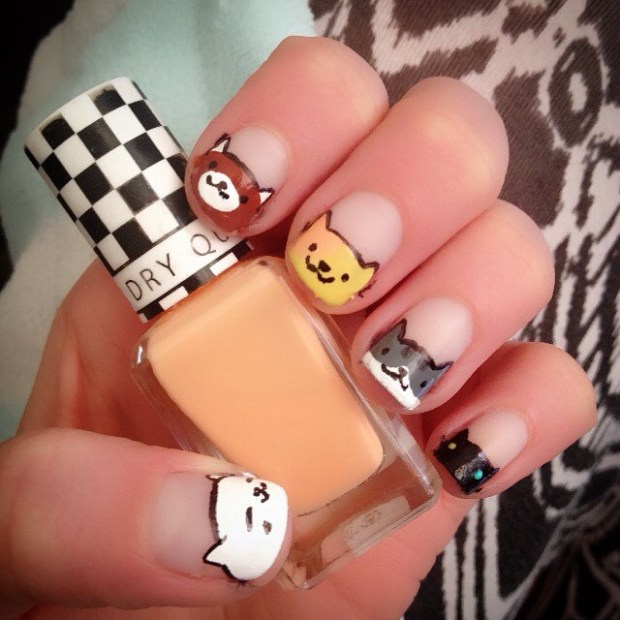 First attempt at Neko Atsume nails