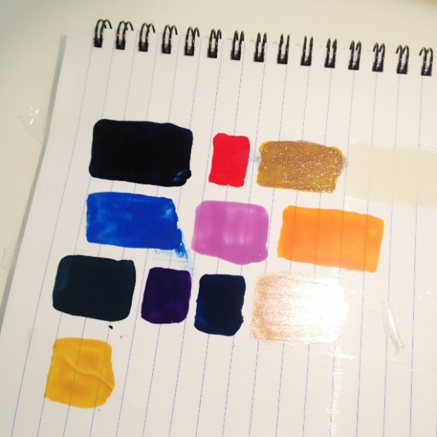 Nail polish swatches on paper