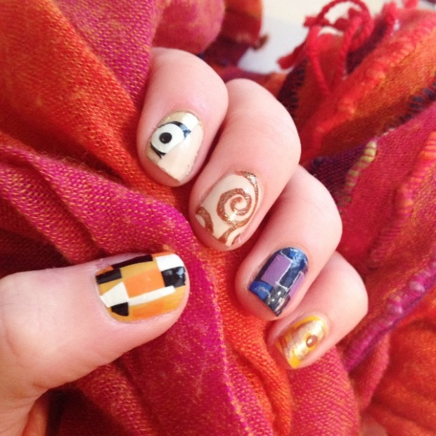 Gustav Klimt inspired nail art design