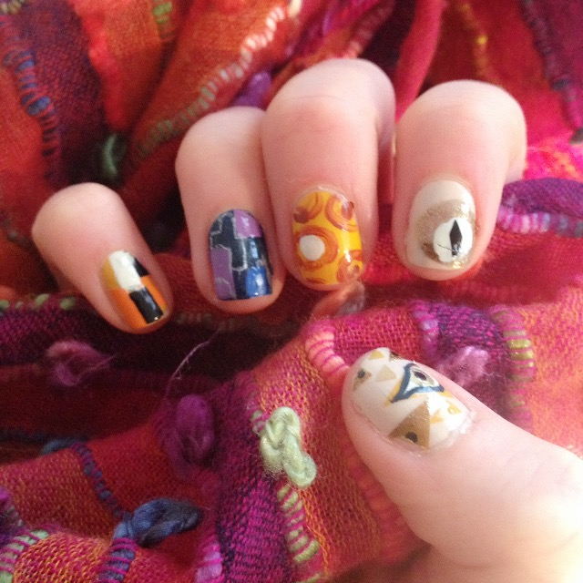 Nail art design based on the paintings of Gustav Klimt