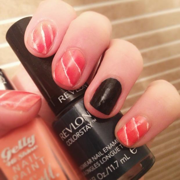 Salmon and seaweed sushi inspired nail art design