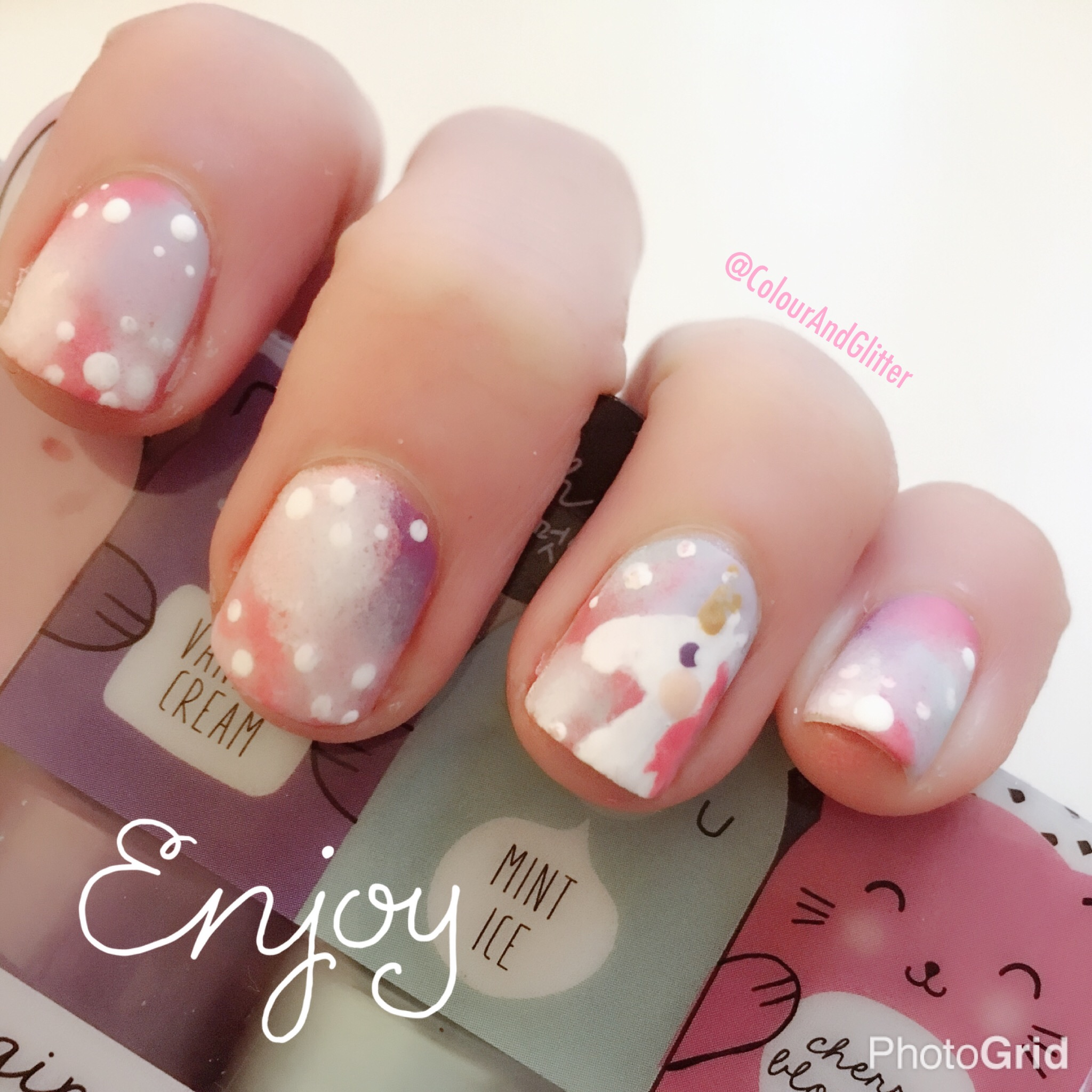 Unicorn Nail Art Colour And Glitter